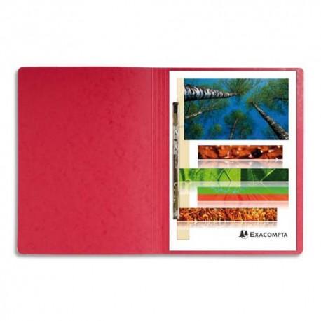 Chemise à lamelles Exacompta compresseur capacité 350 feuilles perforées carte lustrée coloris rouge