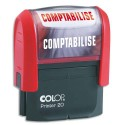 COLOP Timbre à encrage automatique , empreinte rouge 38x14 mm : COMPTABILISE