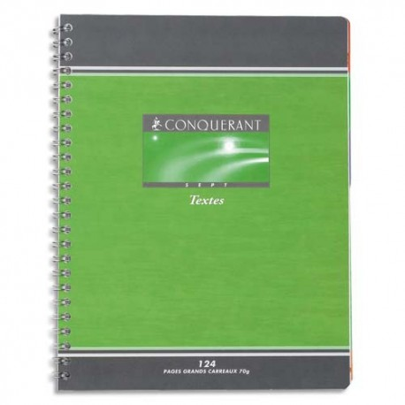 Cahier 17x22 148 pages grands carreaux de texte spirale papier 70g  Couverture carte