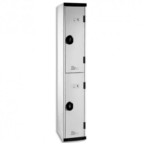 ACIAL Multicasiers Optimum 2 portes en acier avec deux tablettes - Dimensions : L30 x H180 x P50 cm gris
