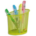 Pot à crayons ALBA en métal Mesh - Diamètre 6, hauteur 10,5 cm coloris vert