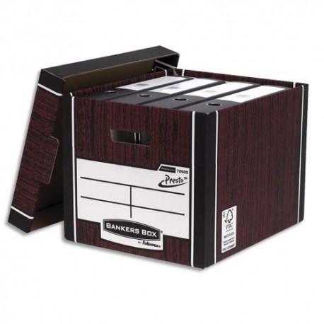 Archivage BANKERS BOX - Caisse PRESTO. Dim: 40 x 25,7 x 34cm, montage automatique, carton recyclé blanc/marron.