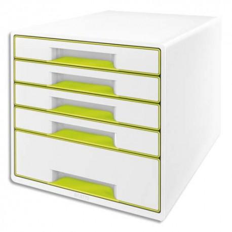 Module de classement LEITZ - Classement 5 tiroirs blanc laqué et tiroirs WOW vert - L29 x H36 x P 37 cm