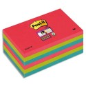 Bloc notes repositionnables Post-it Super Sticky vitamine 76x127mm, coloris Coquelicot/Vert Néon/Saphir lot de 6