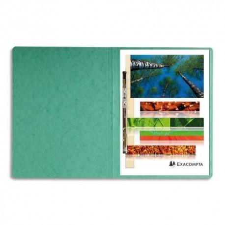 Chemise à lamelles Exacompta compresseur capacité 350 feuilles perforées carte lustrée coloris vert