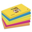 POST-IT Lot de 6 blocs SuperSticky Rio de Janeiro 76x127mm - Couleur rose, orange,jaune