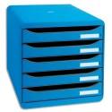 Module de classement Exacompta - Classement 5 tiroirs Big Box Plus beu glacé 34,7x27,8x27,1 cm