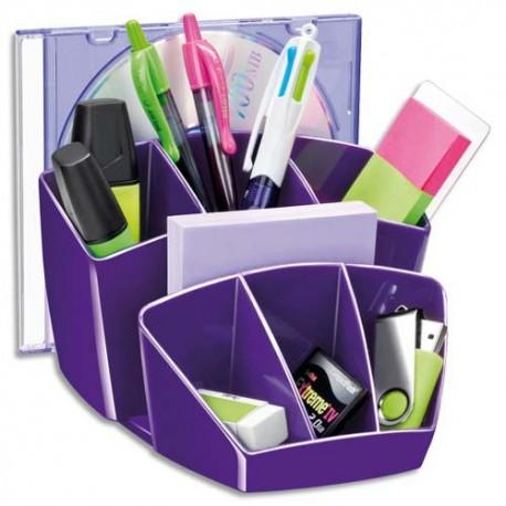 Pot à crayon CEP Pro Multipot Gloss 6 compartiments + 2 espace - L14,3 x H9,3 x P15,8 cm coloris violet