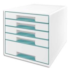 LEITZ Bloc de classement WOW 5 tiroirs, blanc laqué tiroirs Menthe - Dim. L28,7 x H27 x P36,3 cm