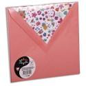 POLLEN Sachet de 10 enveloppes 120g 16,5x16,5cm coloris litchi doublure Fleurs