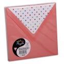POLLEN Sachet de 10 enveloppes 120g 14x14cm coloris litchi doublure Pois