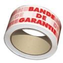 "Ruban adhésif d'emballage Emballage polypropylène blanc imprimé rouge ""BANDE DE GARANTIE"" 50 microns - H48 mm x 100 mètres"