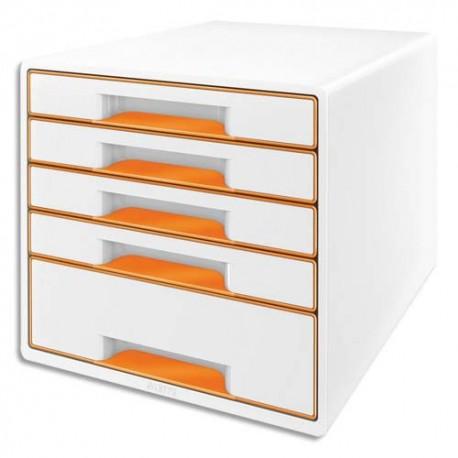 Module de classement LEITZ - Classement 5 tiroirs blanc laqué et tiroirs WOW orange - L29 x H36 x P 37 cm