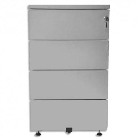 VINCO Caisson mobile hauteur bureau 4 tiroirs - Dimensions : L41,8 x H69,4 x P54,1 cm gris