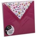 POLLEN Sachet de 10 enveloppes 120g 16,5x16,5cm coloris framboise doublure Fleurs