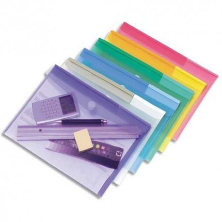 TARIFOLD Sachet de 12 porte documents à Velcro A4 TCollection en PP 20/100e coloris assortis