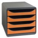 Module de classement Exacompta - Classement 4 tiroirs Big Box gris-tangerine 27,8x26,7x34,7 cm