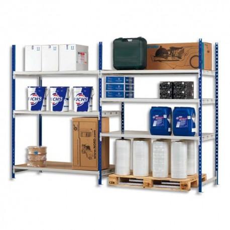 PAPERFLOW Rayonnage Rang'Eco + élément de départ en métal - Dimensions L100 x H200 x P60 cm coloris bleu