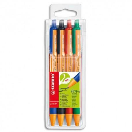 Stylo à bille Stabilo rétractable Pointball - coloris assortis, noir, bleu, rouge , vert pochette de 4