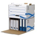 Archivage BANKERS BOX - Conteneur BASIQUE à ouverture frontale, montage manuel, en carton blanc/bleu