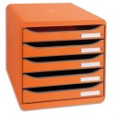 Module de classement Exacompta - Classement 5 tiroirs Big Box Plus tanguerine 34,7x27,8x27,1 cm