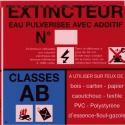 SICLI Panneau classe de feu AB eau puverise avec additif 4004