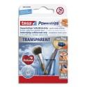 TESA Boîte de 8 languettes Powerstrips large transparentes, supporte jusqu'à 1 kg