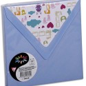 POLLEN Sachet de 10 enveloppes 120g 14x14cm coloris bleu lavande doublure Doudou