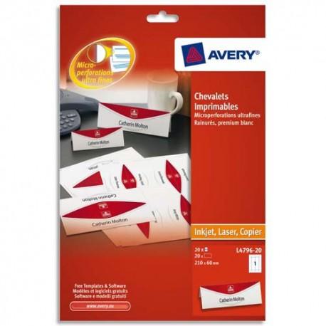 AVERY Paquet de 20 chevalets imprimables 190g/m² - format 210 x 60 mm