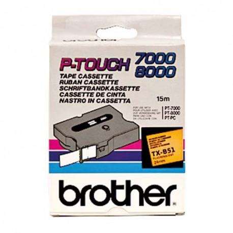 BROTHER TX-B51 (TXB51) Cassette Ruban TX Noir/Orange Fluo 24mmx15m TXB51