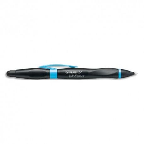 Stylo à bille Stabilo SMARTball 2.0 pour gaucher avec pte stylet écran tactile, corps noir/bleu encre noire