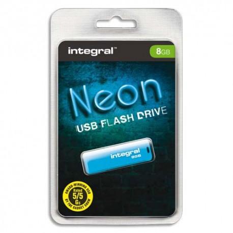 Clé USB 8Go 2.0 NEON coloris Beu + redevance Intégral