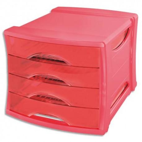 Module de classement Esselte - Classement 4 tiroirs Europost Solea Rouge - L28,5 x H24,5 x P38 cm