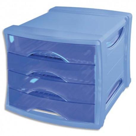 Module de classement Esselte - Classement 4 tiroirs Europost Solea Bleu - L28,5 x H24,5 x P38 cm