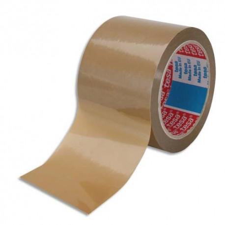 Ruban adhésif d'emballage Tesa PVC colle caoutchouc 52 microns - Dimensions : H75 mm x L66 mètres havane