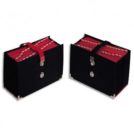 Trieur EXTENDOS - Trieur de bureau accordéon 31 compartiments noir, couverture toilée, onglets métalliques