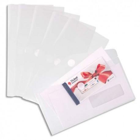 TARIFOLD Sachet de 6 enveloppes chéquier en polypropylène, gamme T Collection coloris incolore