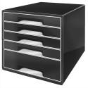 Module de classement LEITZ - Classement 5 tiroirs noir laqué et tiroirs blancs - L28,7 x H27 x P36,3 cm