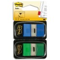 POST-IT Blister de 2 cartes de 50 index marque page 2,54x4,4cm bleu et vert 680-GB2 58956