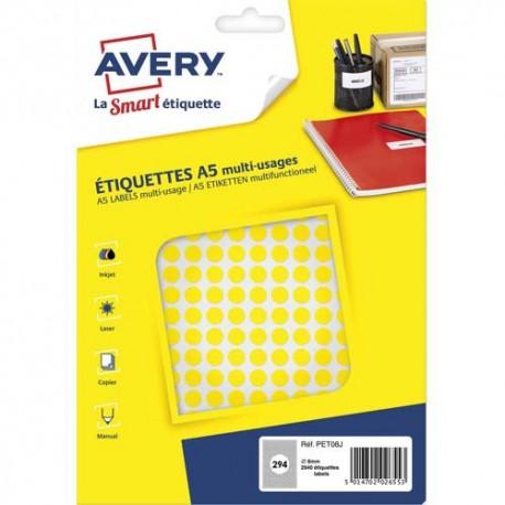 AVERY Sachet de 2940 pastilles Ø8 mm. Imprimables. Coloris jaune.