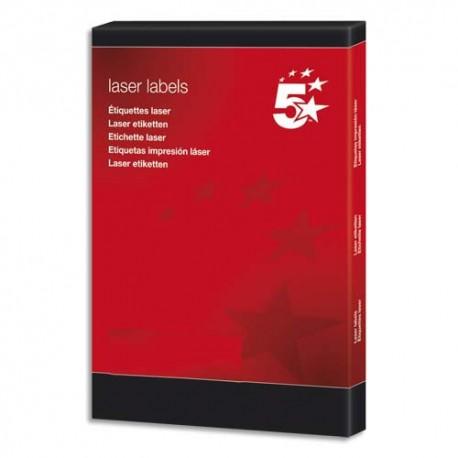 Etiquette Eco 5* - Boîte de 100 feuilles. 65 étiquettes laser 38,1X21,2mm par feuilles.  blanc