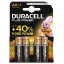 DURACELL Blister de 4 piles Alcalines 1,5V AA LR06 Plus Power Duralock